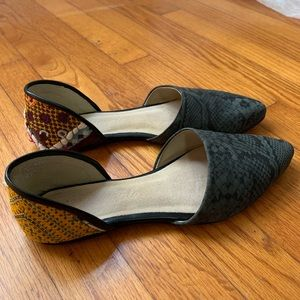 Free People Snakeskin Embroidered D'Orsay Flats